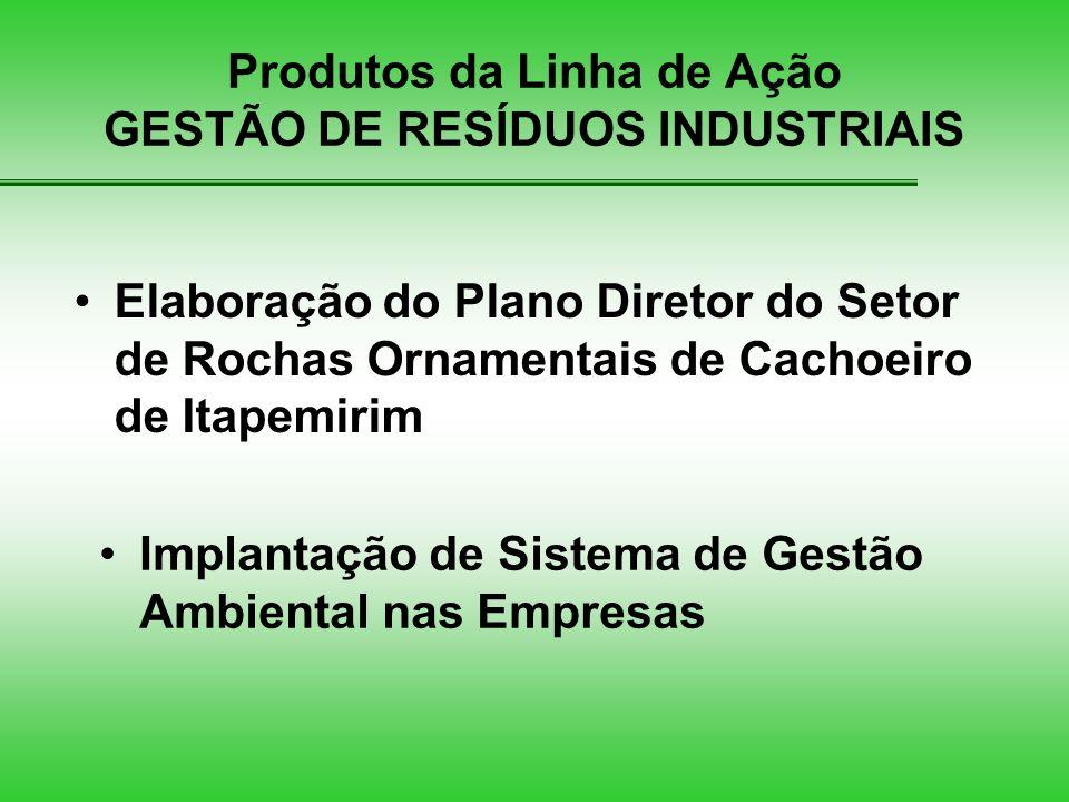 Produtos da Linha de Ação GESTÃO DE RESÍDUOS INDUSTRIAIS