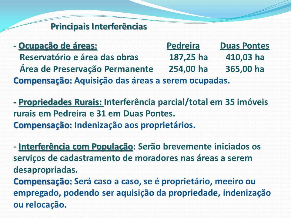 Principais Interferências