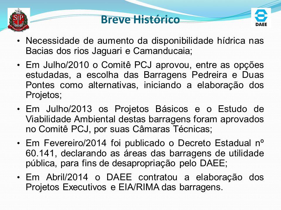 Breve Histórico Necessidade de aumento da disponibilidade hídrica nas Bacias dos rios Jaguari e Camanducaia;