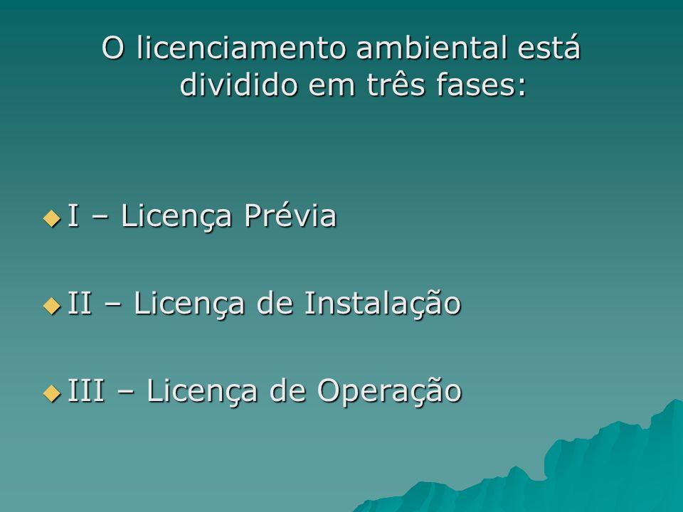 O licenciamento ambiental está dividido em três fases: