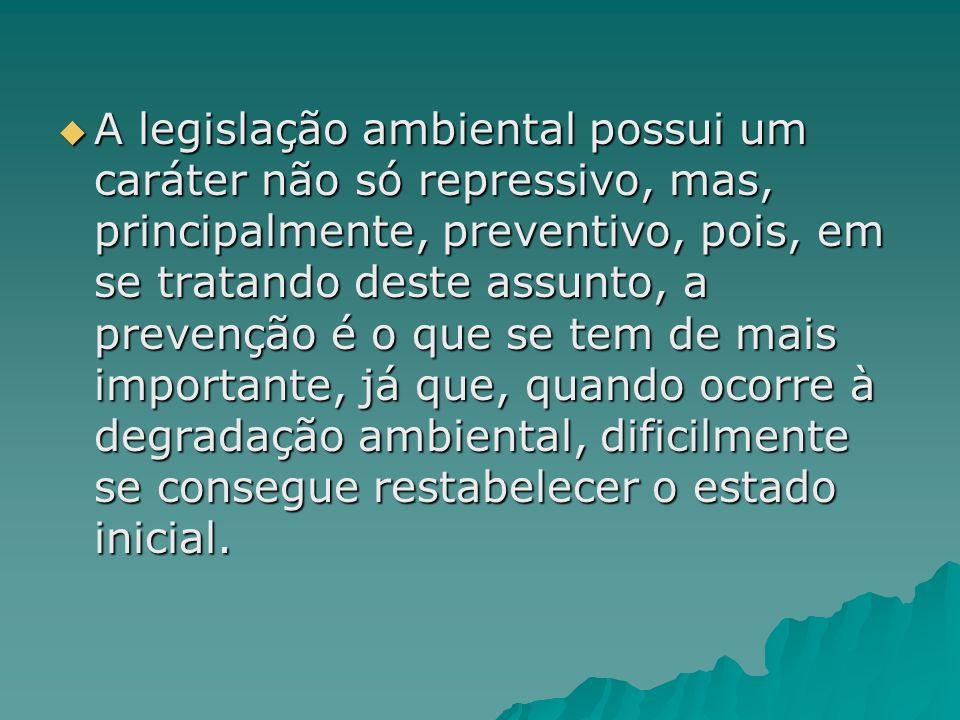 A legislação ambiental possui um caráter não só repressivo, mas, principalmente, preventivo, pois, em se tratando deste assunto, a prevenção é o que se tem de mais importante, já que, quando ocorre à degradação ambiental, dificilmente se consegue restabelecer o estado inicial.