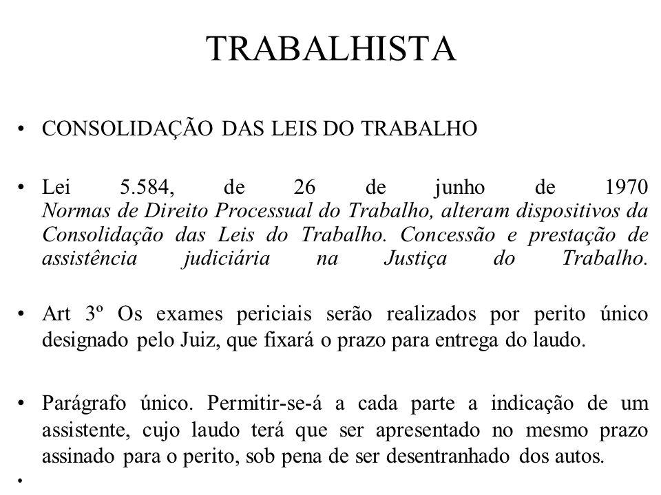 TRABALHISTA CONSOLIDAÇÃO DAS LEIS DO TRABALHO