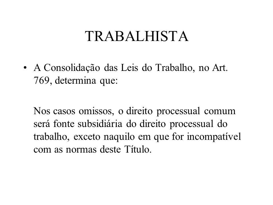 TRABALHISTA A Consolidação das Leis do Trabalho, no Art. 769, determina que: