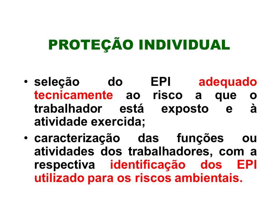 PROTEÇÃO INDIVIDUALseleção do EPI adequado tecnicamente ao risco a que o trabalhador está exposto e à atividade exercida;
