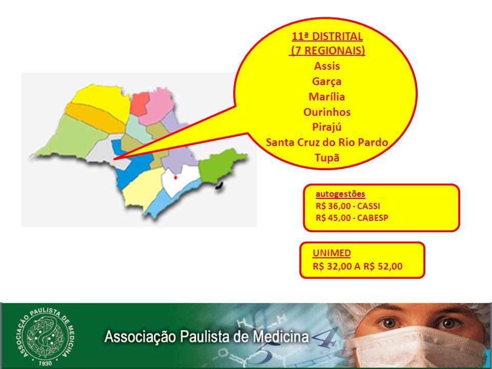 11ª DISTRITAL (7 REGIONAIS) Assis Garça Marília Ourinhos Pirajú