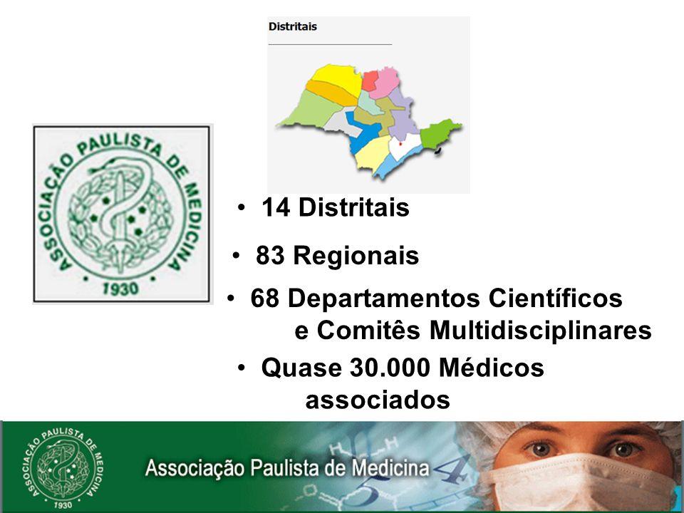 14 Distritais 83 Regionais. 68 Departamentos Científicos. e Comitês Multidisciplinares. Quase 30.000 Médicos.