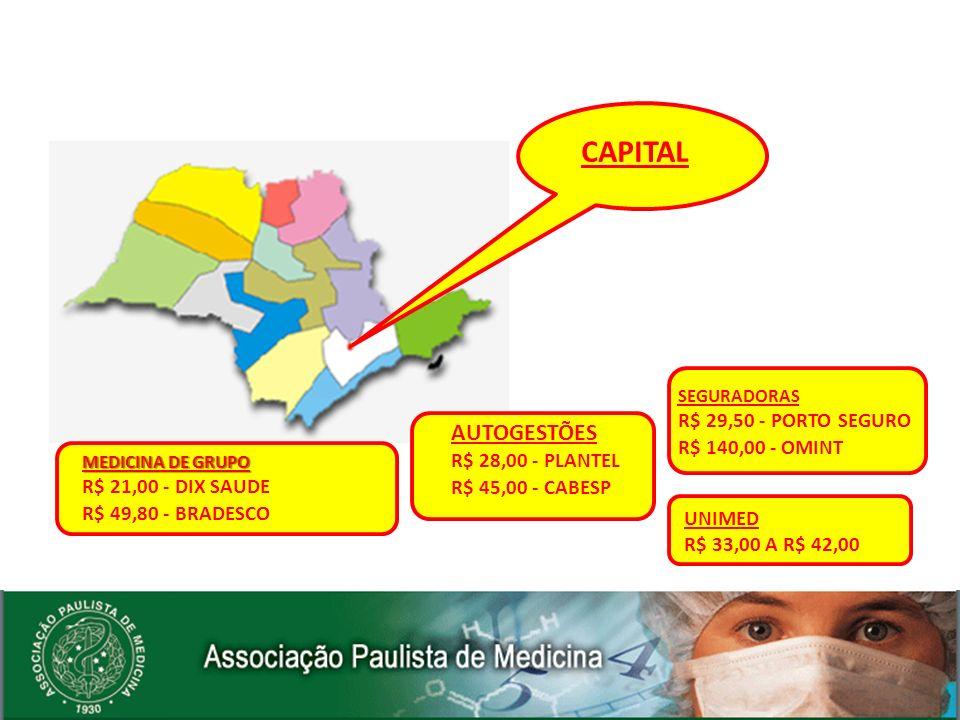 CAPITAL AUTOGESTÕES R$ 29,50 - PORTO SEGURO R$ 140,00 - OMINT
