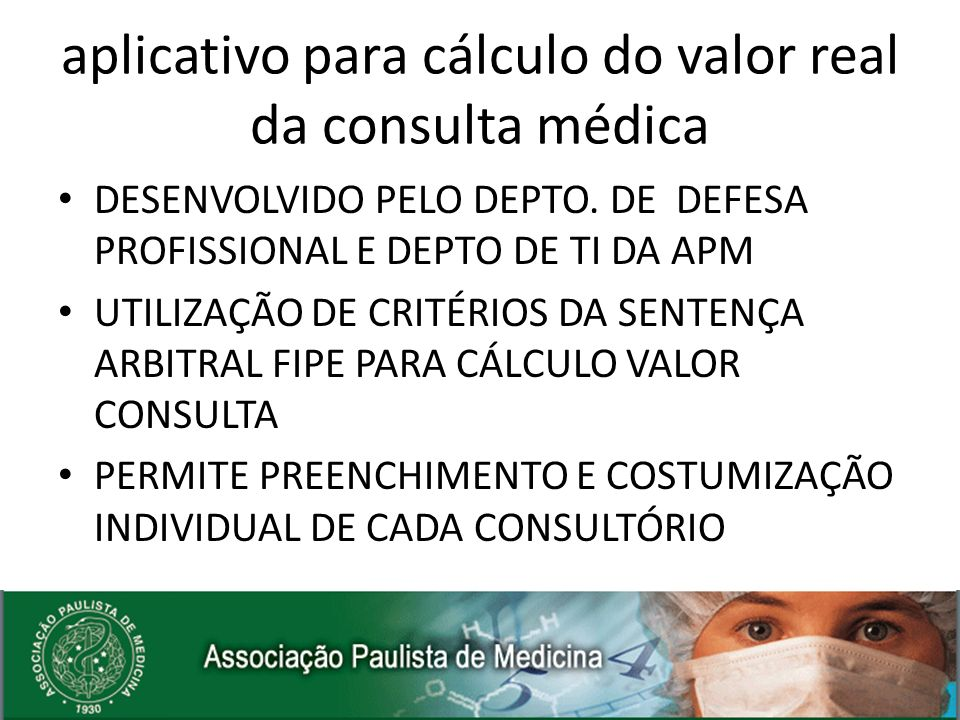 aplicativo para cálculo do valor real da consulta médica