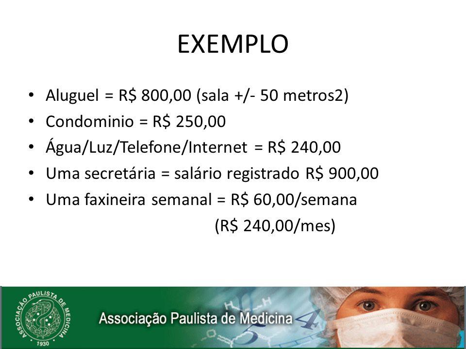 EXEMPLO Aluguel = R$ 800,00 (sala +/- 50 metros2)