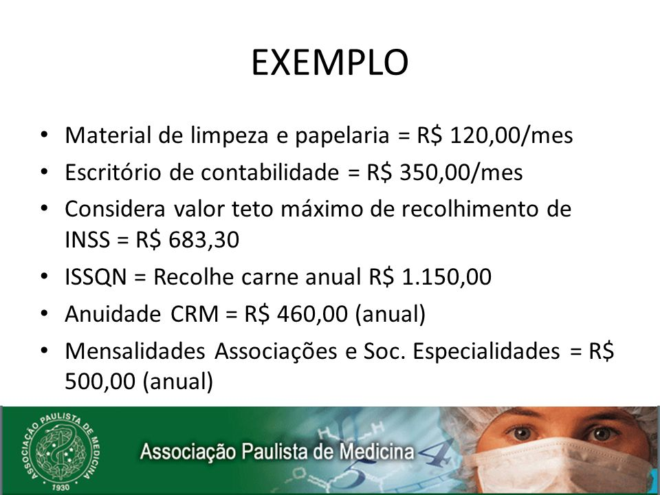 EXEMPLO Material de limpeza e papelaria = R$ 120,00/mes