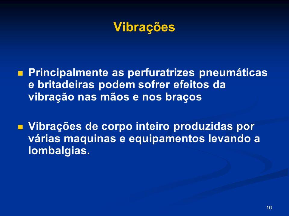 VibraçõesPrincipalmente as perfuratrizes pneumáticas e britadeiras podem sofrer efeitos da vibração nas mãos e nos braços.