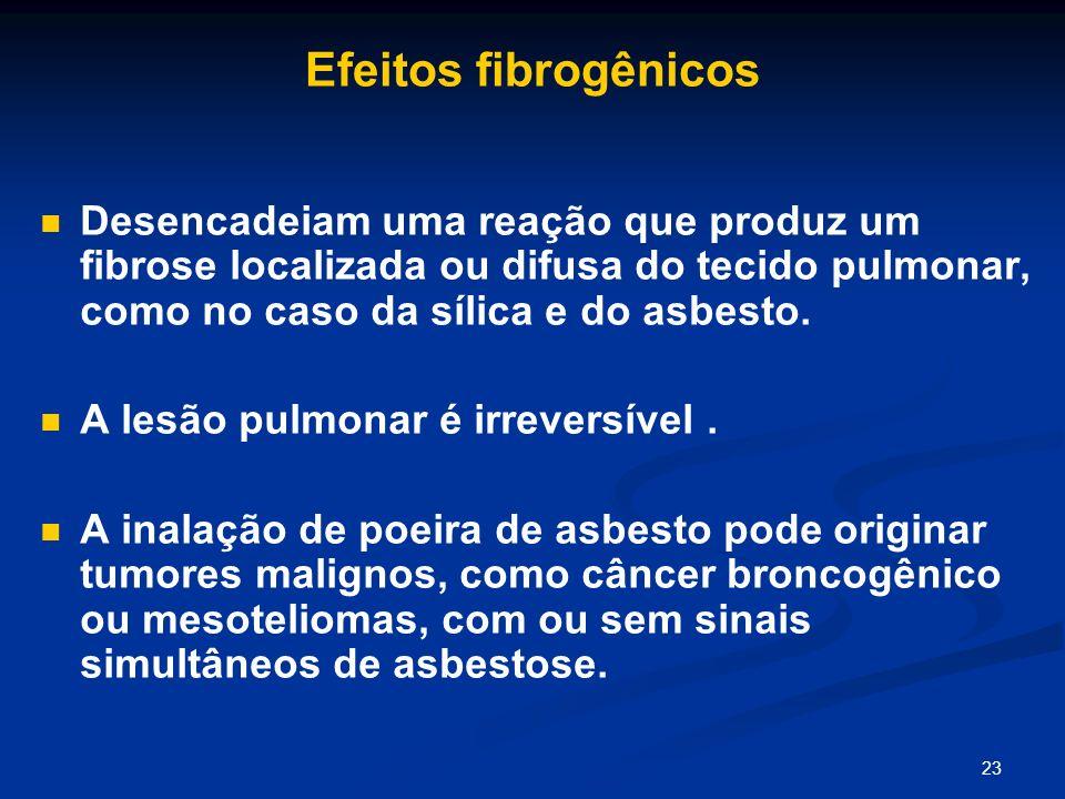 Efeitos fibrogênicos Desencadeiam uma reação que produz um fibrose localizada ou difusa do tecido pulmonar, como no caso da sílica e do asbesto.