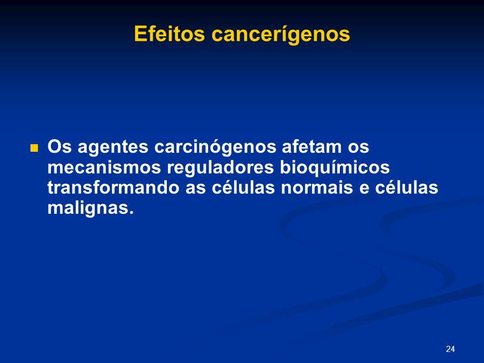 Efeitos cancerígenos Os agentes carcinógenos afetam os mecanismos reguladores bioquímicos transformando as células normais e células malignas.