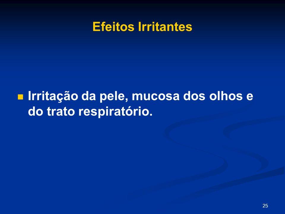 Efeitos Irritantes Irritação da pele, mucosa dos olhos e do trato respiratório.