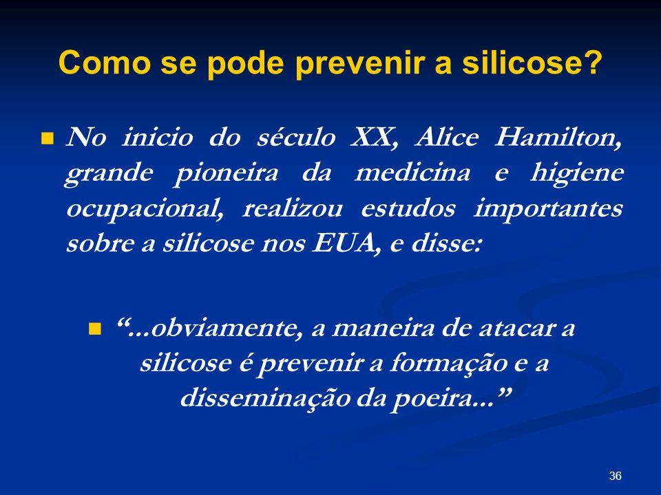 Como se pode prevenir a silicose