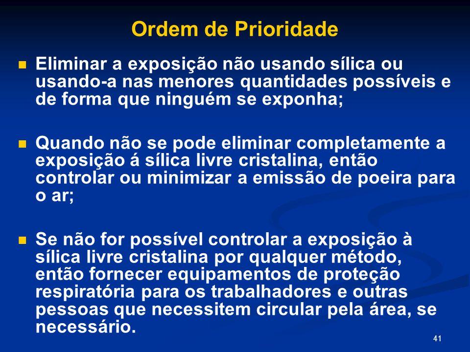 Ordem de Prioridade Eliminar a exposição não usando sílica ou usando-a nas menores quantidades possíveis e de forma que ninguém se exponha;