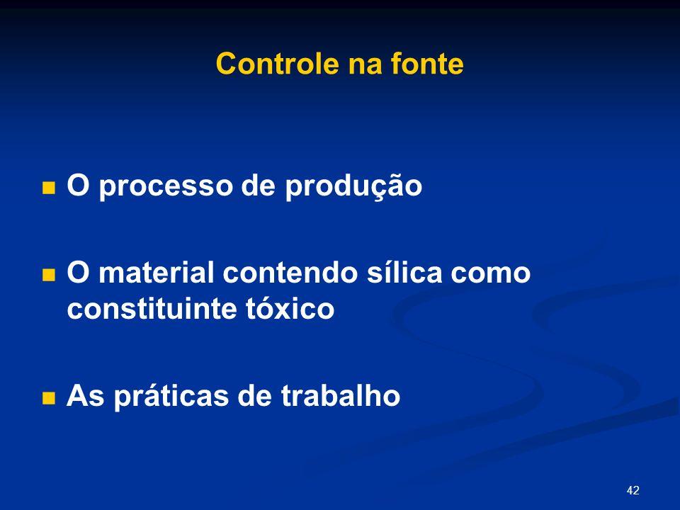 Controle na fonteO processo de produção.O material contendo sílica como constituinte tóxico.