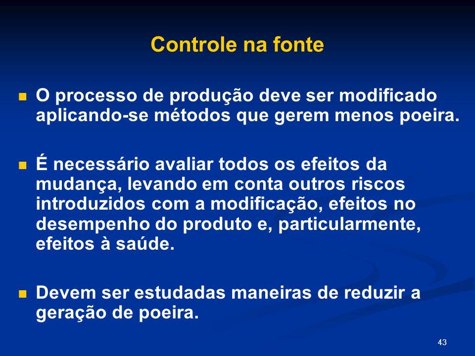Controle na fonte O processo de produção deve ser modificado aplicando-se métodos que gerem menos poeira.