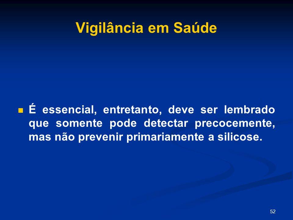 Vigilância em SaúdeÉ essencial, entretanto, deve ser lembrado que somente pode detectar precocemente, mas não prevenir primariamente a silicose.