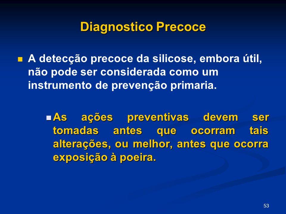 Diagnostico Precoce A detecção precoce da silicose, embora útil, não pode ser considerada como um instrumento de prevenção primaria.