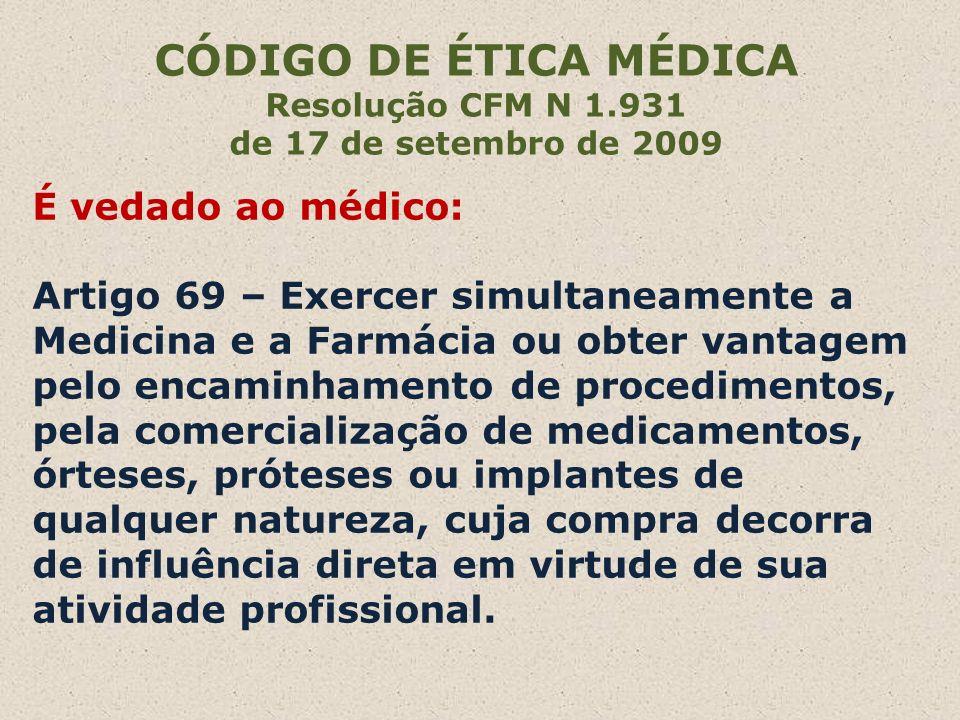 CÓDIGO DE ÉTICA MÉDICAResolução CFM N 1.931. de 17 de setembro de 2009.