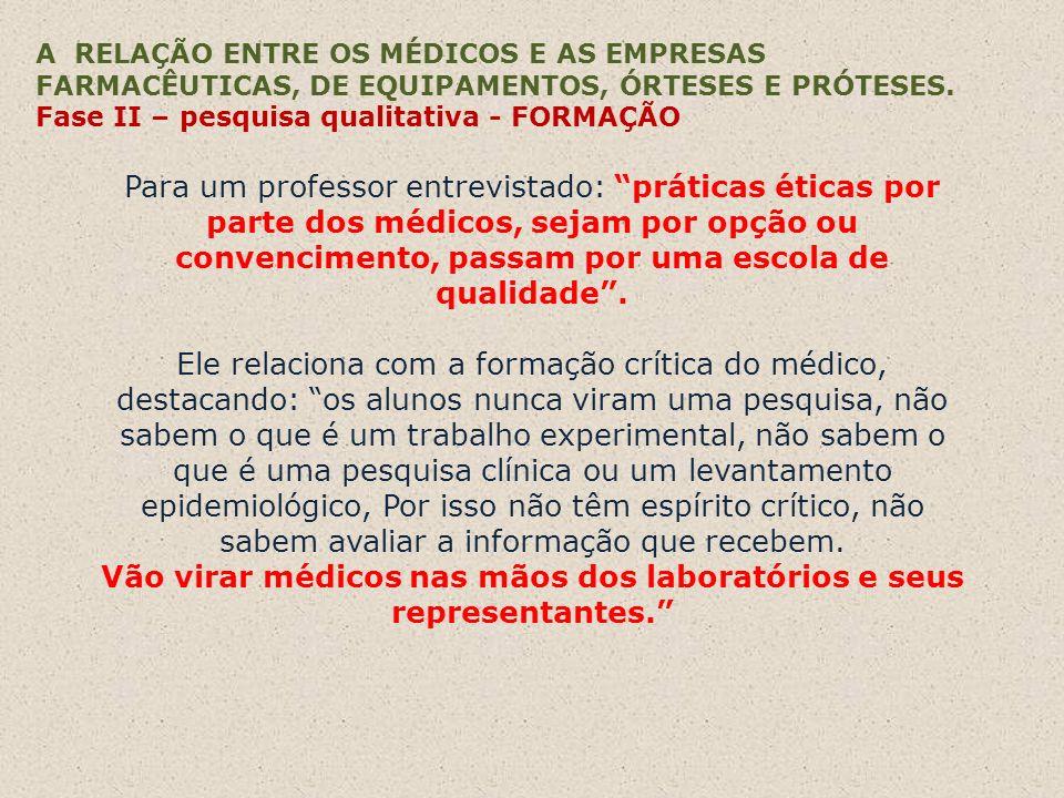 A RELAÇÃO ENTRE OS MÉDICOS E AS EMPRESAS FARMACÊUTICAS, DE EQUIPAMENTOS, ÓRTESES E PRÓTESES. Fase II – pesquisa qualitativa - FORMAÇÃO