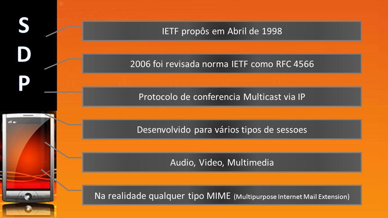 S D P IETF propôs em Abril de 1998