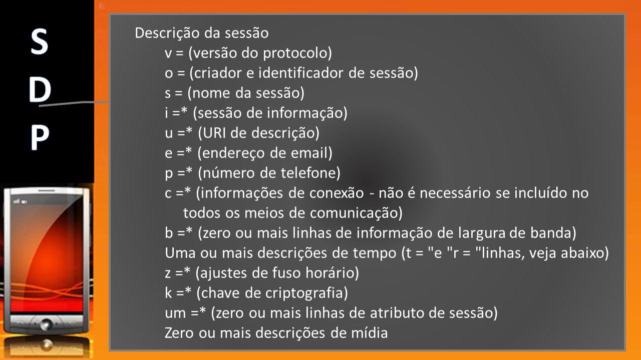 S D P Descrição da sessão v = (versão do protocolo)