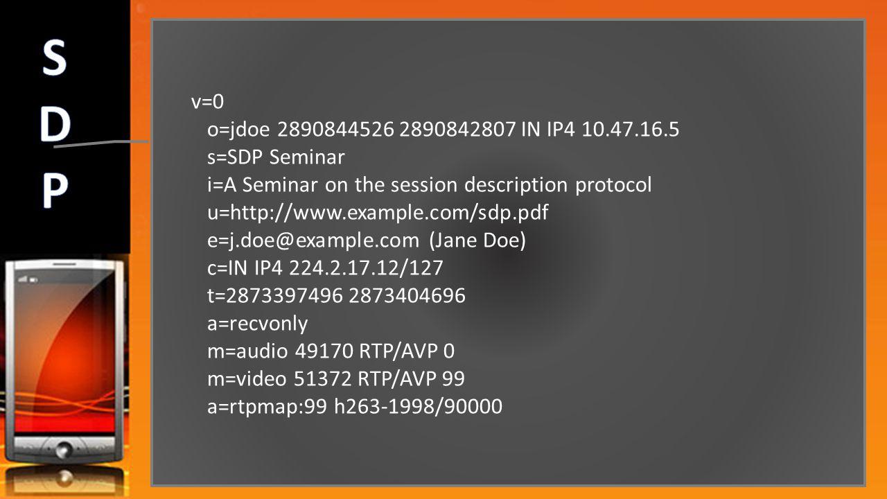 S D P v=0 o=jdoe 2890844526 2890842807 IN IP4 10.47.16.5 s=SDP Seminar