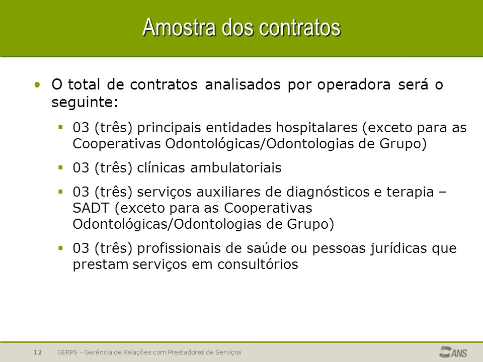 Amostra dos contratos O total de contratos analisados por operadora será o seguinte: