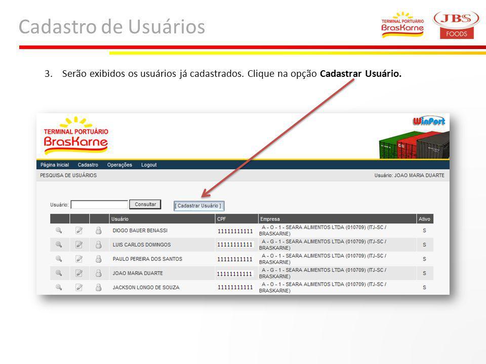 Cadastro de Usuários Serão exibidos os usuários já cadastrados. Clique na opção Cadastrar Usuário.