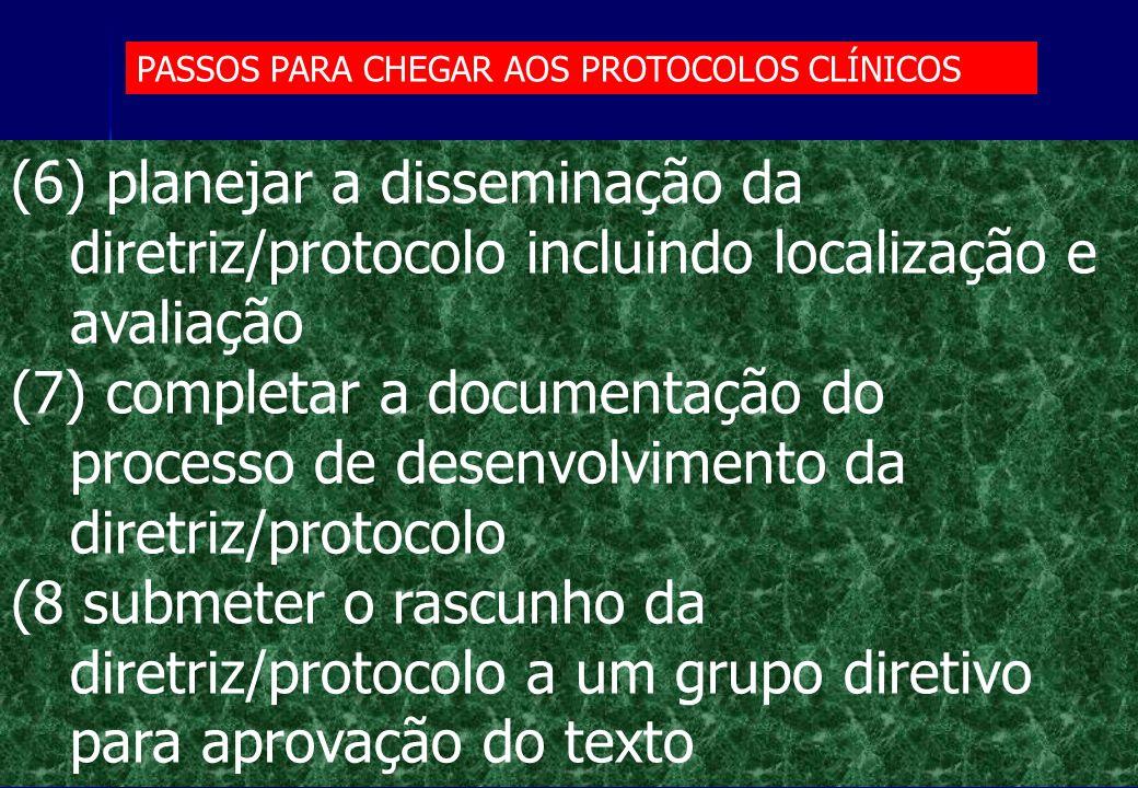 PASSOS PARA CHEGAR AOS PROTOCOLOS CLÍNICOS