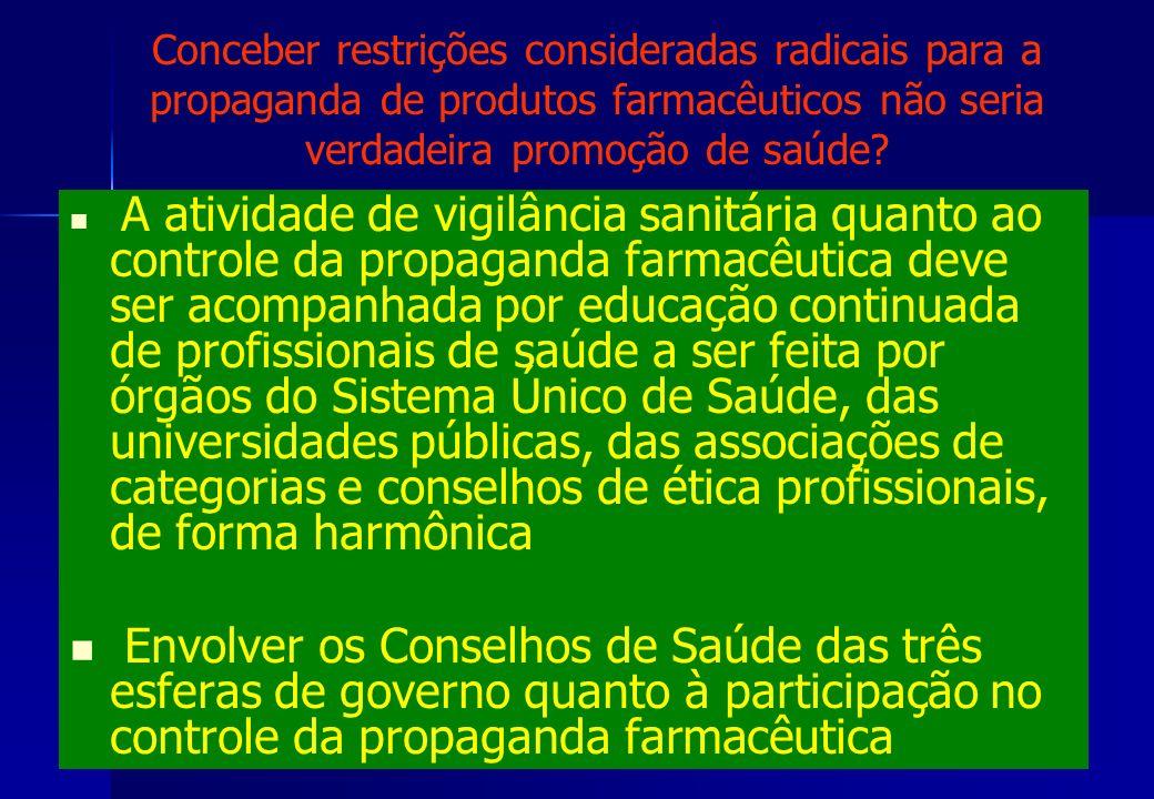 Conceber restrições consideradas radicais para a propaganda de produtos farmacêuticos não seria verdadeira promoção de saúde