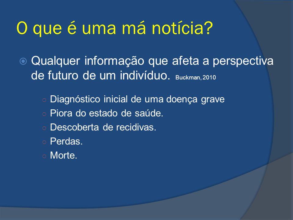 O que é uma má notícia Qualquer informação que afeta a perspectiva de futuro de um indivíduo. Buckman, 2010.