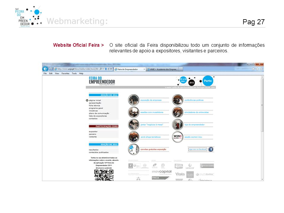 Webmarketing: Pag 27 Website Oficial Feira >