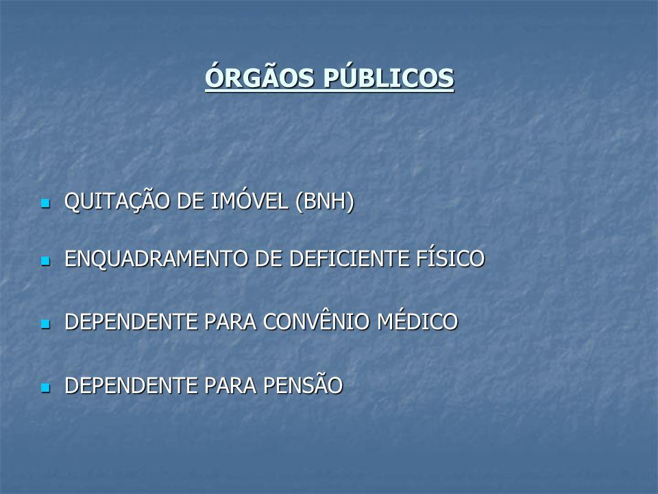 ÓRGÃOS PÚBLICOS QUITAÇÃO DE IMÓVEL (BNH)