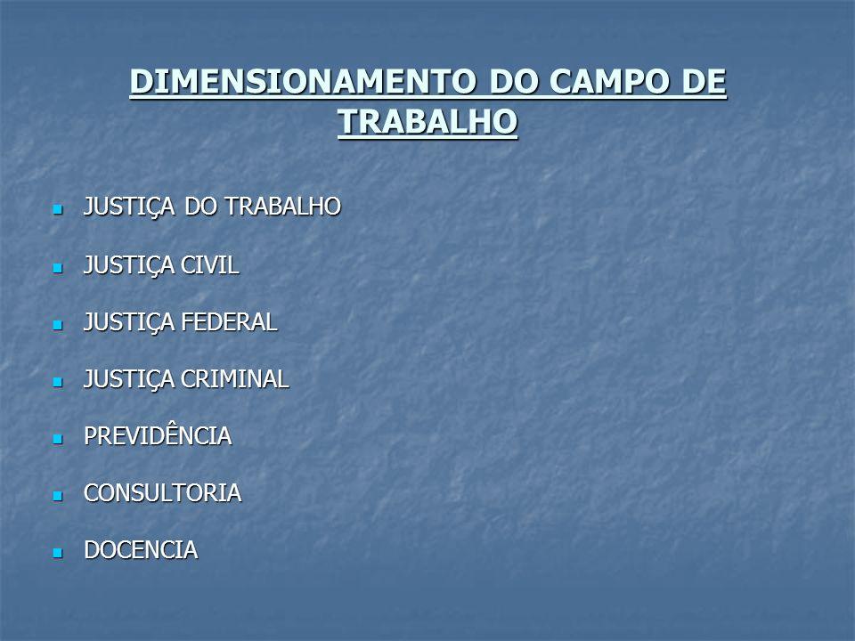 DIMENSIONAMENTO DO CAMPO DE TRABALHO