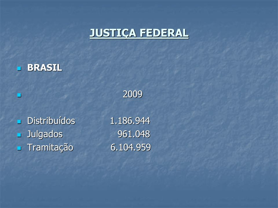 JUSTIÇA FEDERAL BRASIL 2009 Distribuídos 1.186.944 Julgados 961.048