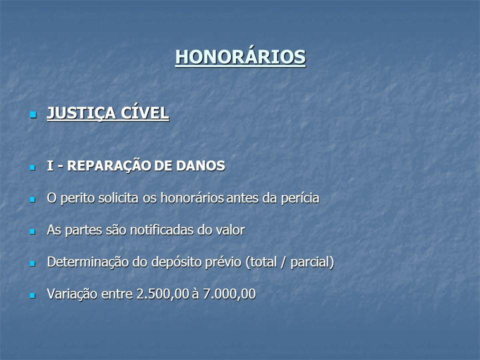 HONORÁRIOS JUSTIÇA CÍVEL I - REPARAÇÃO DE DANOS