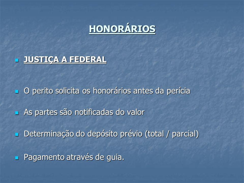 HONORÁRIOS JUSTIÇA A FEDERAL