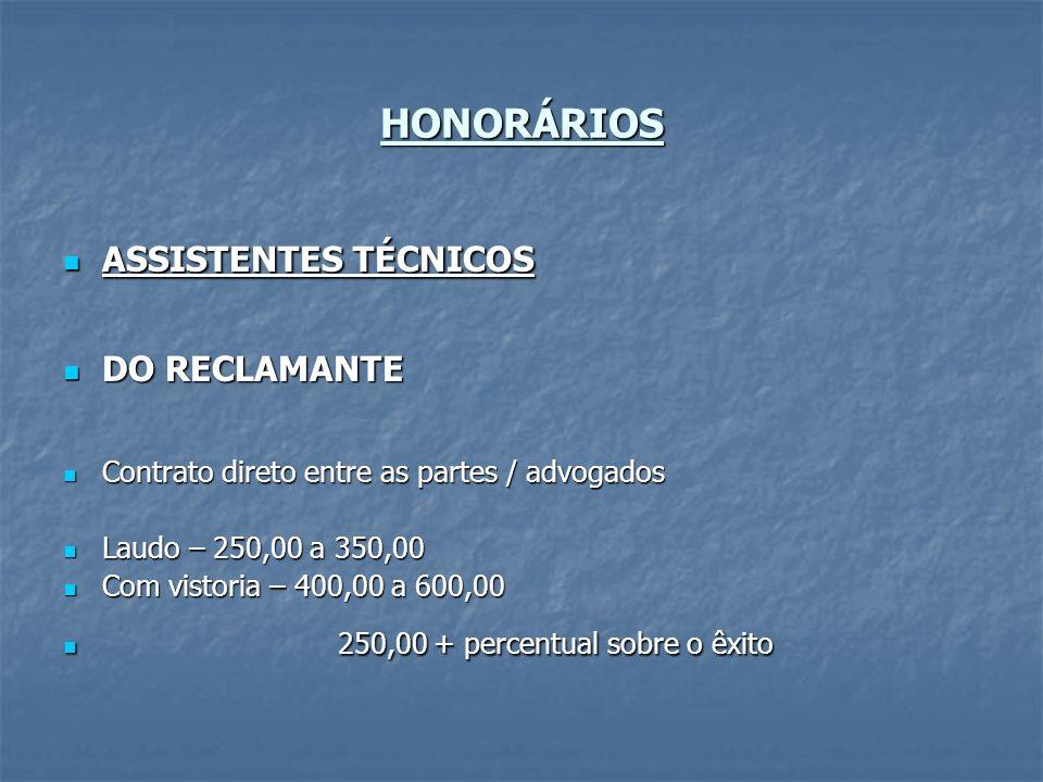 HONORÁRIOS ASSISTENTES TÉCNICOS DO RECLAMANTE