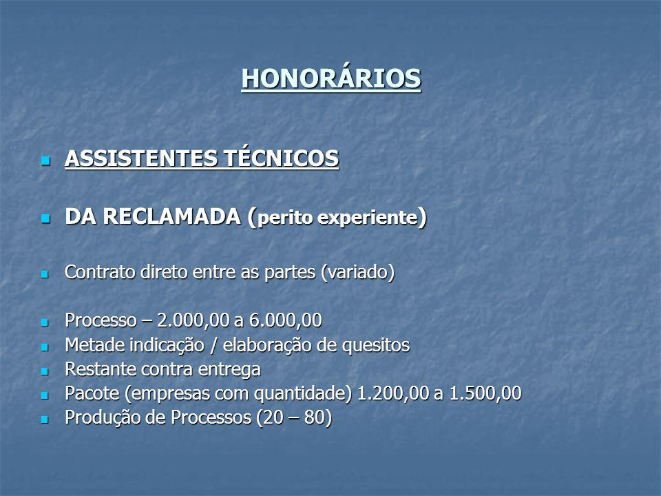 HONORÁRIOS ASSISTENTES TÉCNICOS DA RECLAMADA (perito experiente)