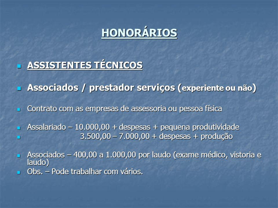 HONORÁRIOS ASSISTENTES TÉCNICOS
