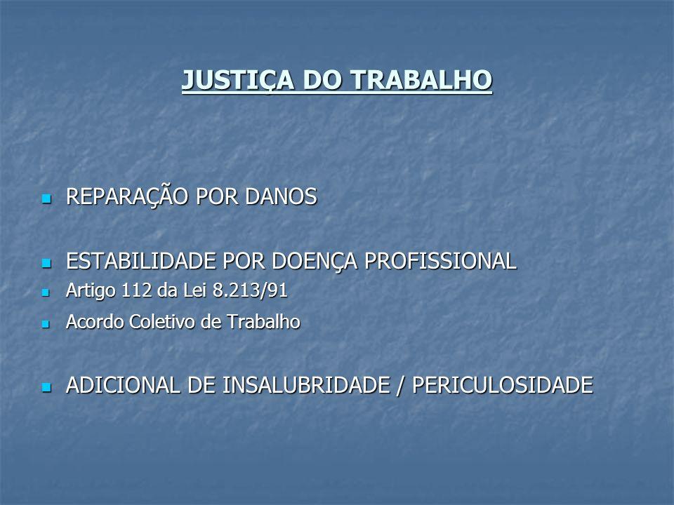 JUSTIÇA DO TRABALHO REPARAÇÃO POR DANOS