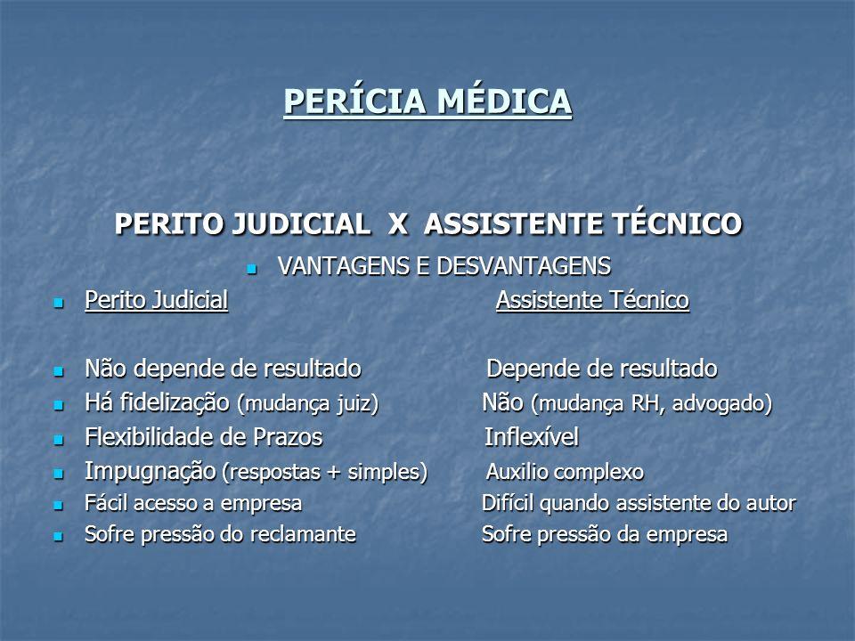 PERITO JUDICIAL X ASSISTENTE TÉCNICO