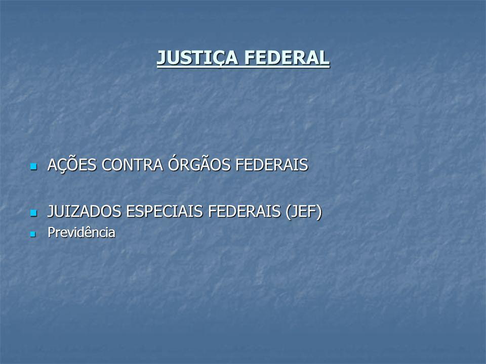 JUSTIÇA FEDERAL AÇÕES CONTRA ÓRGÃOS FEDERAIS