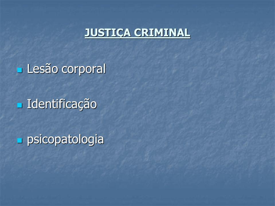 JUSTIÇA CRIMINAL Lesão corporal Identificação psicopatologia