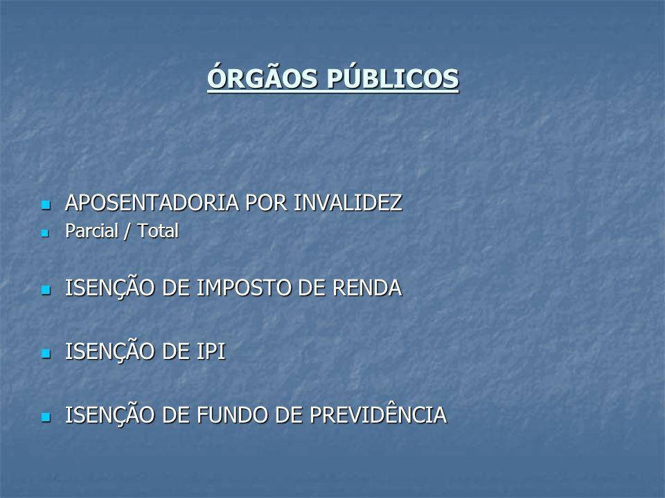 ÓRGÃOS PÚBLICOS APOSENTADORIA POR INVALIDEZ