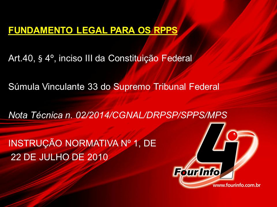FUNDAMENTO LEGAL PARA OS RPPS