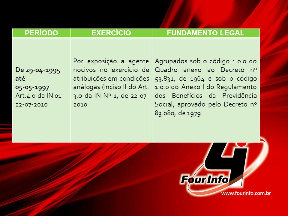 PERÍODO EXERCÍCIO. FUNDAMENTO LEGAL. De 29-04-1995. até. 05-05-1997. Art.4.o da IN 01-22-07-2010.